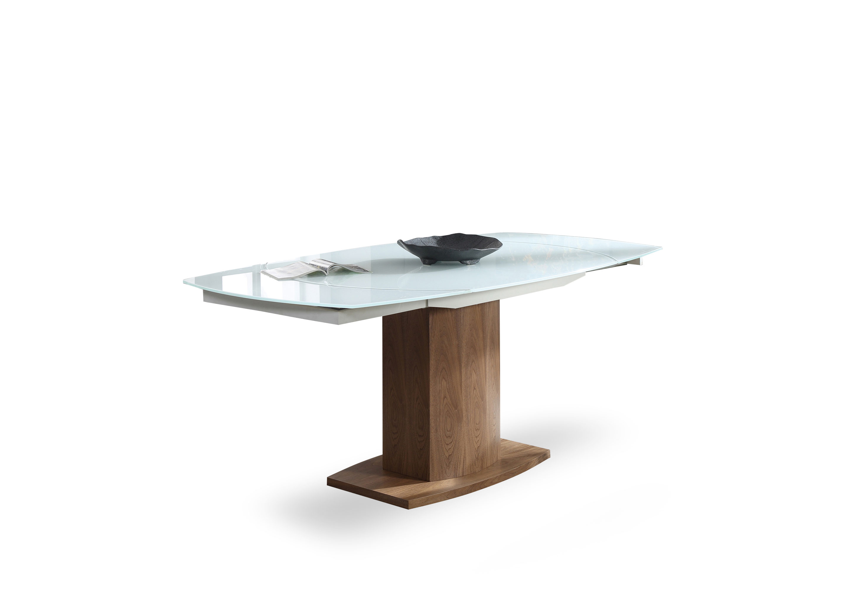 Baobab – Oval Glass White Extendable Kitchen Table